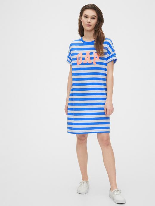 Kadın Mavi Gap Logo Kısa Kollu Elbise