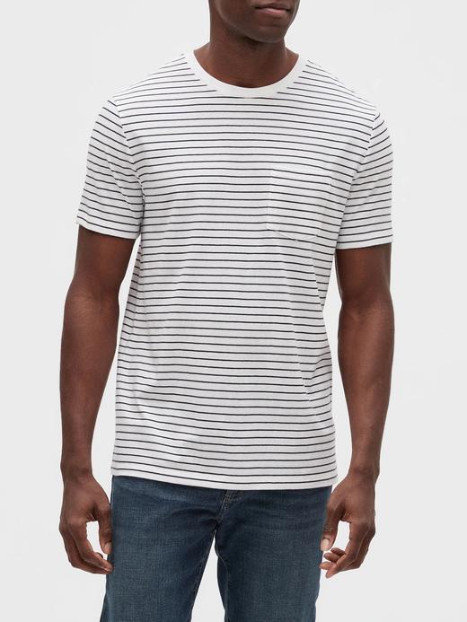 Erkek Beyaz Cepli Kısa Kollu T-Shirt
