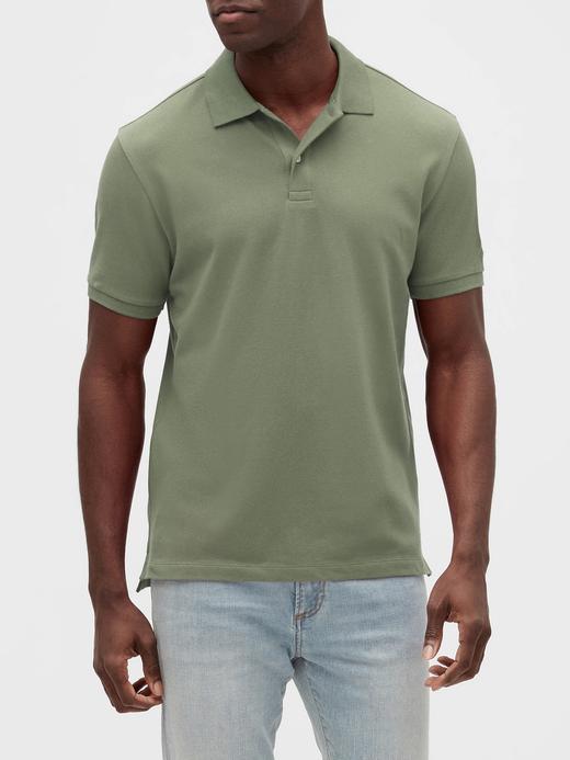 Erkek Yeşil Pique Kısa Kollu Polo T-Shirt