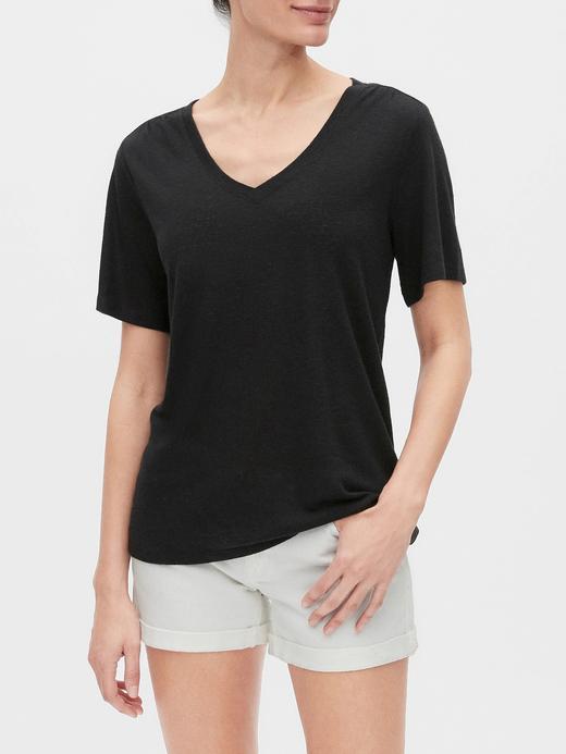 Kadın Siyah V Yaka Keten T-Shirt