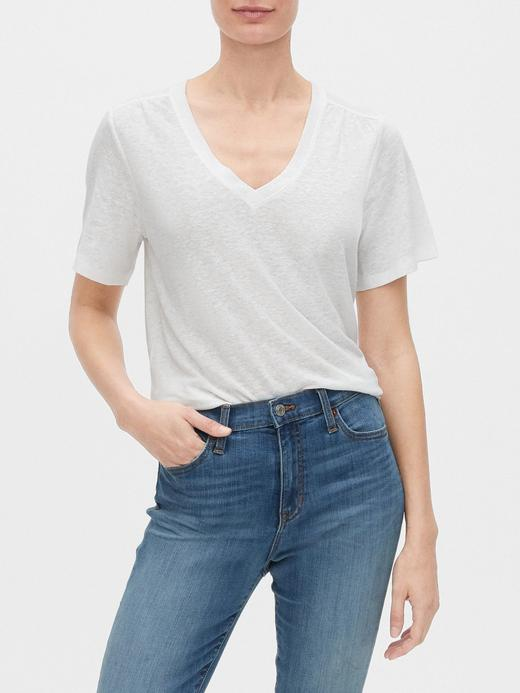 Kadın Beyaz V Yaka Keten T-Shirt