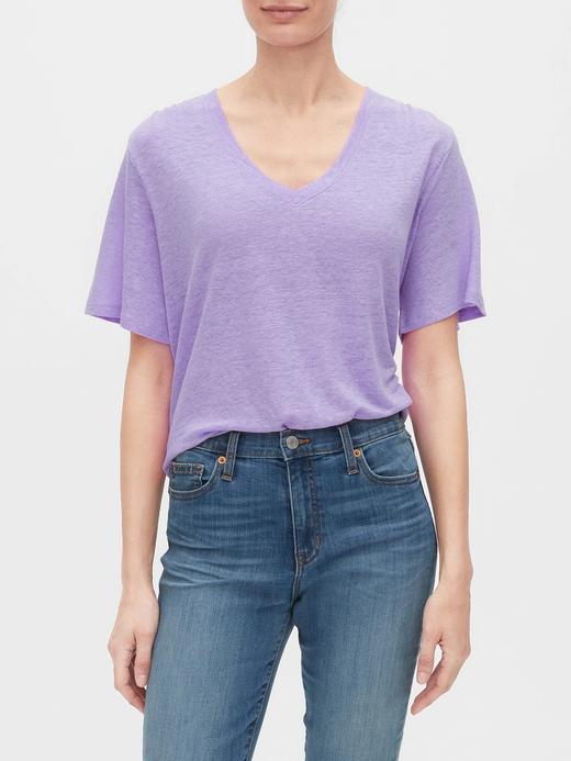 Kadın Mor V Yaka Keten T-Shirt