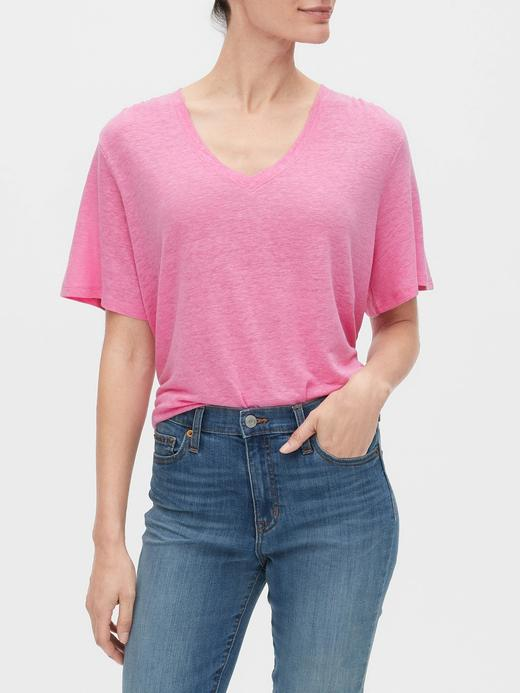 Kadın Pembe V Yaka Keten T-Shirt