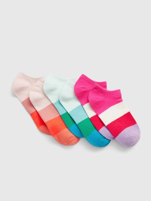 Kız Çocuk Çok renkli 3'lü Çizgili Çorap Seti