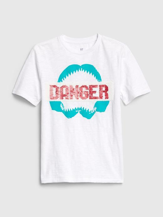 Erkek Çocuk Beyaz Grafik Değişen Pullu T-Shirt