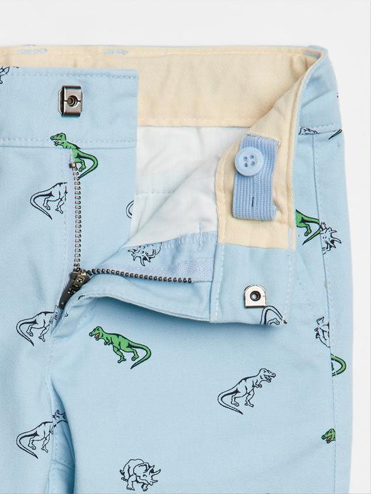 Erkek Bebek Mavi Dinozor Desenli Khaki Pantolon