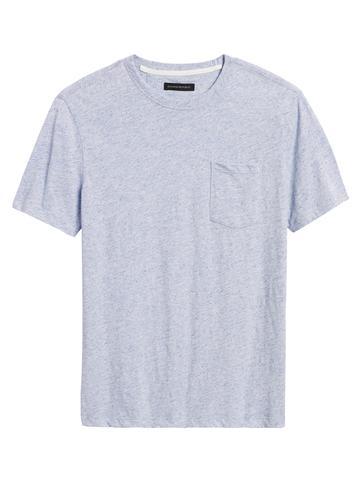 Erkek Mavi Vintage Yuvarlak Yaka T-Shirt