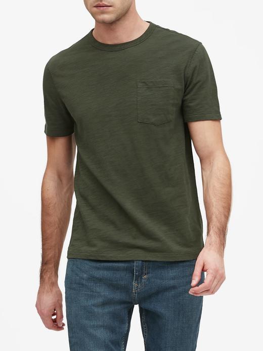 Erkek Yeşil Vintage Yuvarlak Yaka T-Shirt