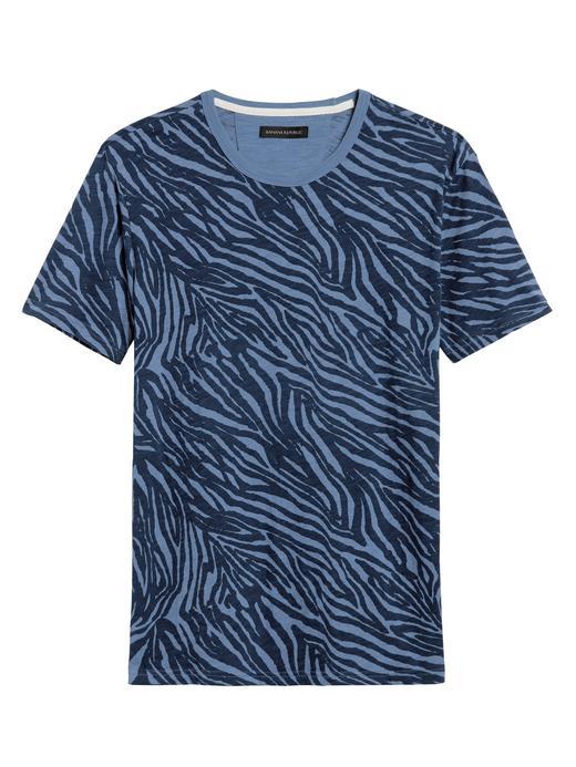 Erkek Mavi Zebra Desenli T-Shirt