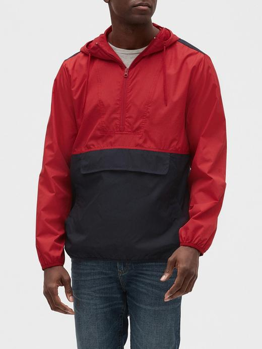 Erkek Kırmızı Kapüşonlu Anorak Mont
