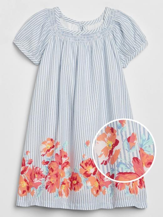 Kız Bebek Mavi Çiçek Desenli Elbise