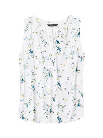 Kadın Beyaz EcoVero™ Kolsuz Bluz