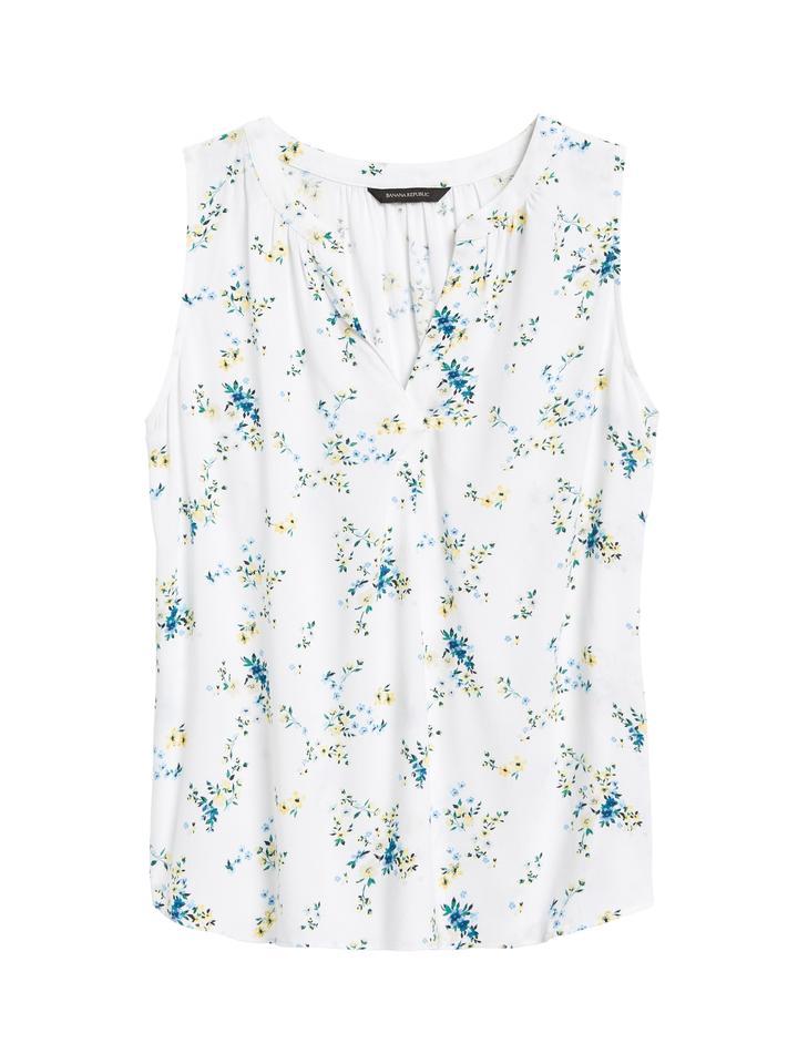 Kadın Mavi EcoVero™ Kolsuz Bluz