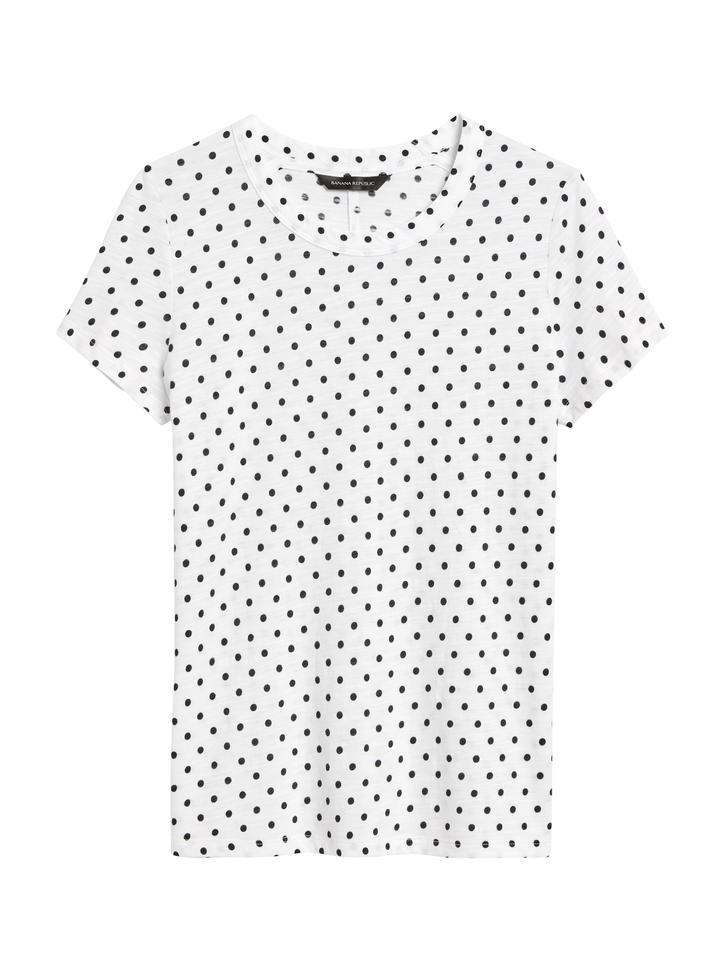 Kadın Beyaz Puantiyeli Kısa Kollu T-Shirt