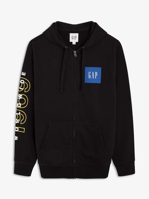 Erkek Siyah Gap Logo Fermuarlı Sweatshirt