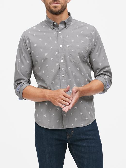 Erkek Gri Untucked Slim-Fit Luxe Poplin Gömlek