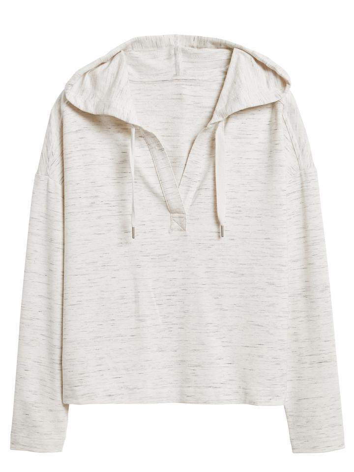 Kadın Bej Kapüşonlu Crop Sweatshirt