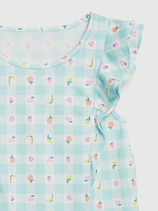 Kız Çocuk Mavi Desenli Pijama Takımı