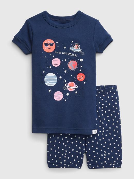 Erkek Bebek Mavi Kısa Kollu Desenli Pijama Takımı