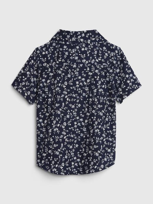 Erkek Bebek Lacivert Çiçek Desenli Kısa Kollu Gömlek