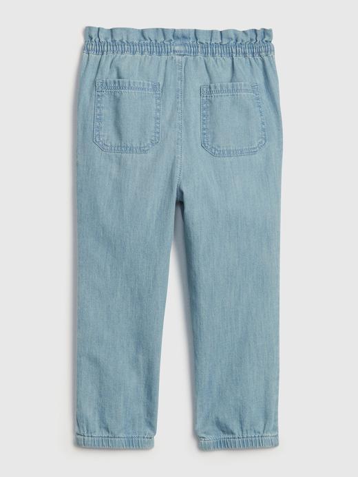 Kız Bebek Mavi Denim Jogger Pantolon