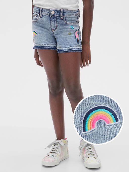 Kız Çocuk Mavi İşlemeli Denim Şort