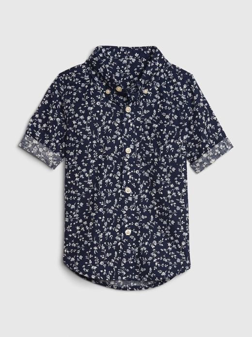 Erkek Bebek Lacivert Kısa Kollu Çiçek Desenli Gömlek