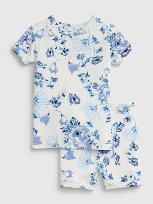 Erkek Bebek Beyaz Çiçek Desenli Pijama Takımı