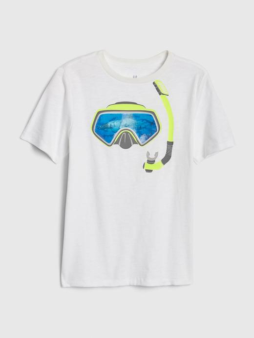 Erkek Çocuk Beyaz 3D Grafik T-Shirt