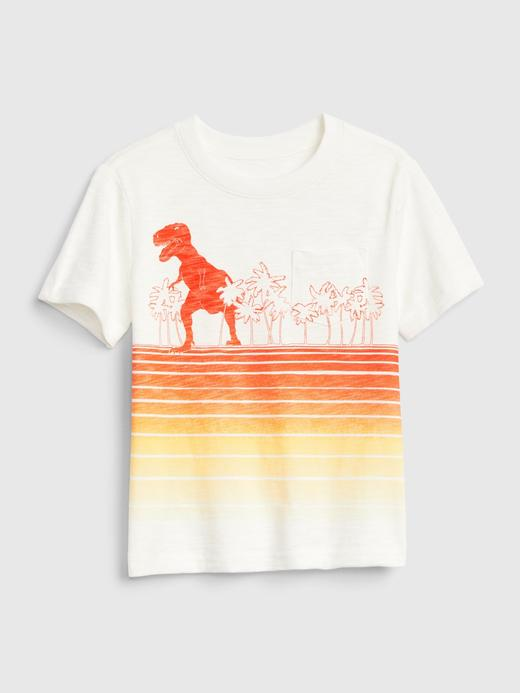 Erkek Bebek Beyaz Grafik Kısa Kollu T-Shirt