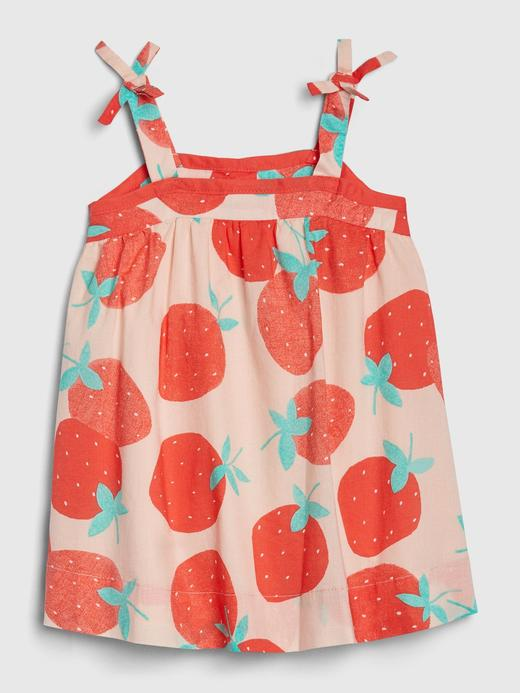 Kız Bebek Pembe Çilek Desenli Elbise