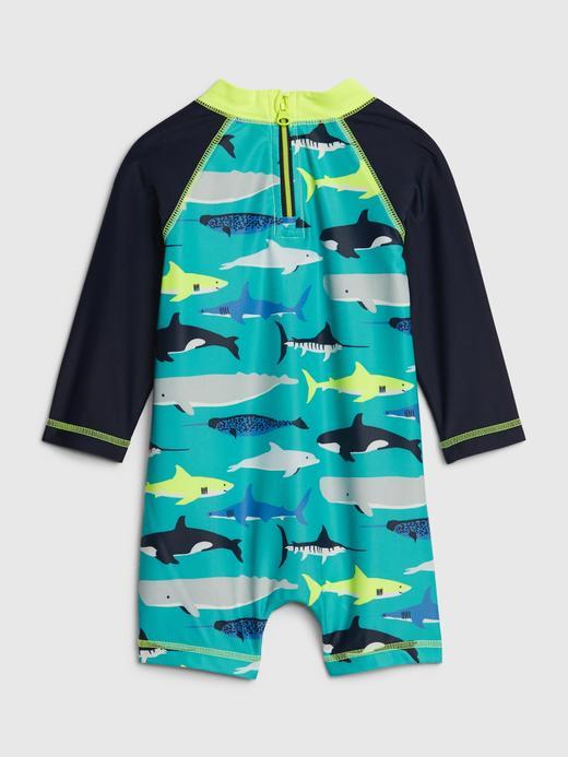 Erkek Bebek turkuaz Köpek Balığı Desenli Rashguard Mayo