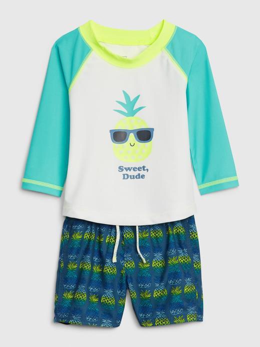 Erkek Bebek Mavi Ananas Desenli Rashguard Mayo Takımı