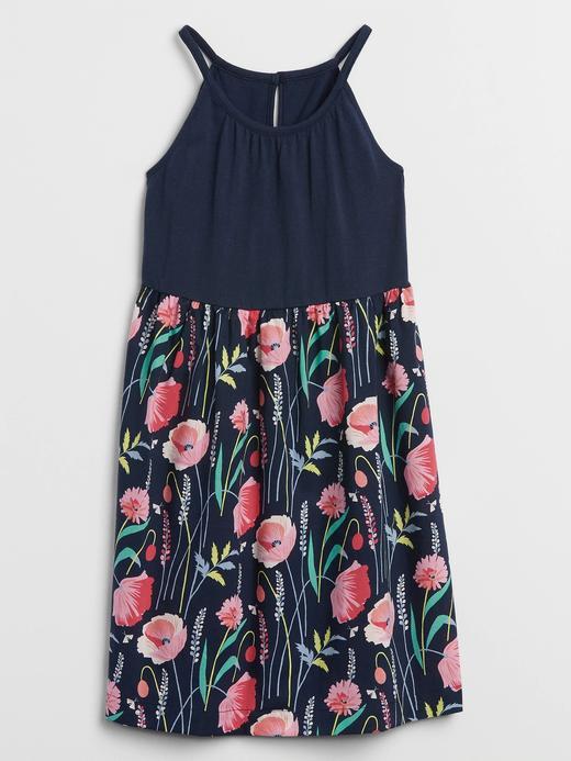 Kız Çocuk Lacivert Desenli Elbise