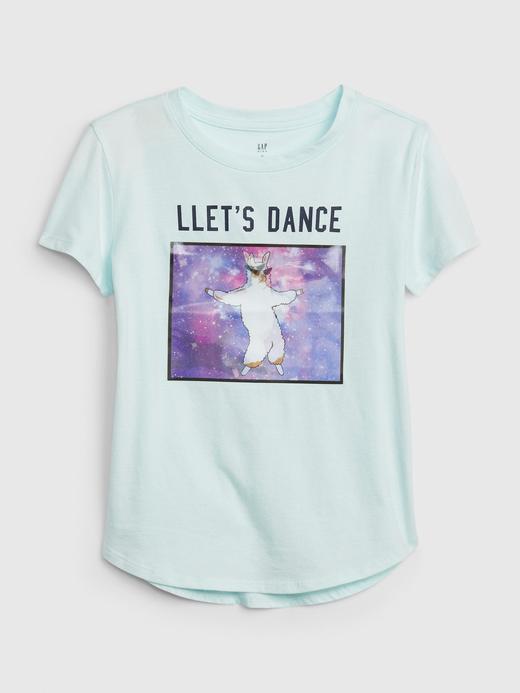 Kız Çocuk su yeşili İnteraktif Grafik T-Shirt