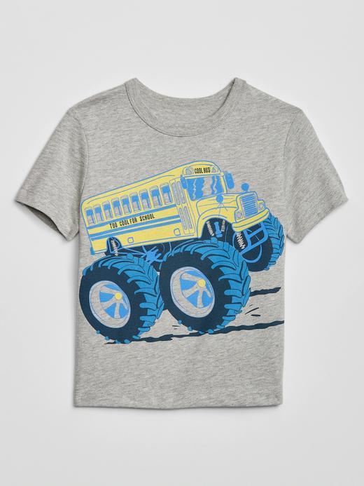 Erkek Bebek Gri Grafik Kısa Kollu T-Shirt