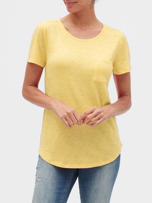 Kadın Sarı Yuvarlak Yaka Kısa Kollu T-Shirt