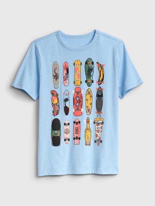 Erkek Çocuk Mavi Grafik Kısa Kollu T-Shirt