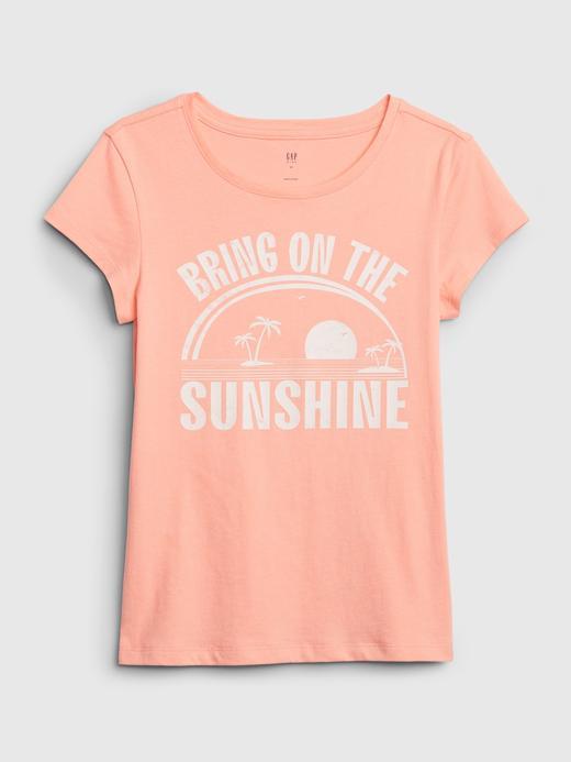 Kız Çocuk Turuncu Grafik Kısa Kollu T-Shirt
