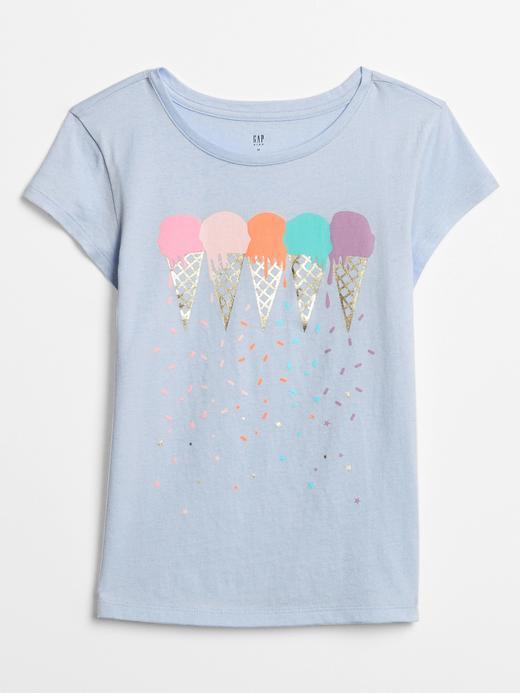 Kız Çocuk açık mavi Grafik Kısa Kollu T-Shirt