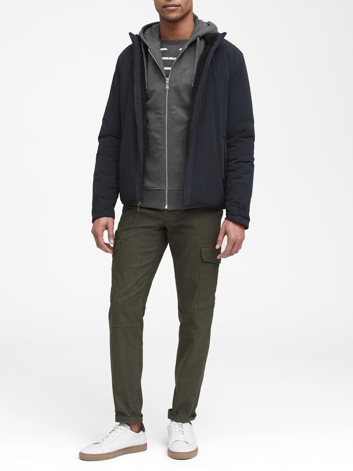 Erkek Lacivert Kapüşonlu Polar Sweatshirt