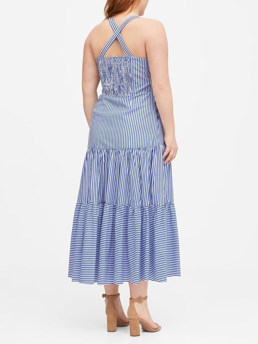 Kadın Mavi Çizgili Poplin Maxi Elbise