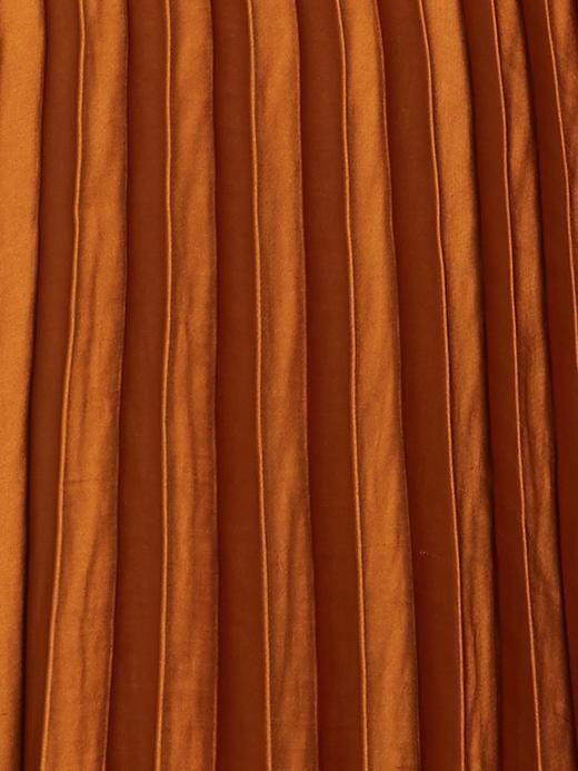 Kadın Kahverengi Saten Pileli Midi Etek