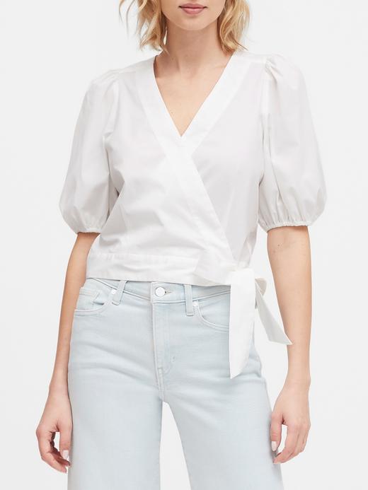 Kadın Beyaz Balon Kollu Poplin Crop Bluz
