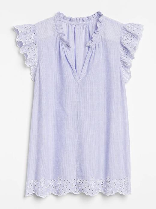 Kadın Mavi Kolları Fırfırlı Bluz