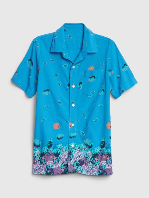 Erkek Çocuk Mavi Kısa Kollu Gömlek