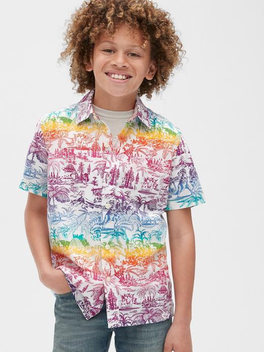 Erkek Çocuk Çok Renkli Grafik Kısa Kollu Gömlek