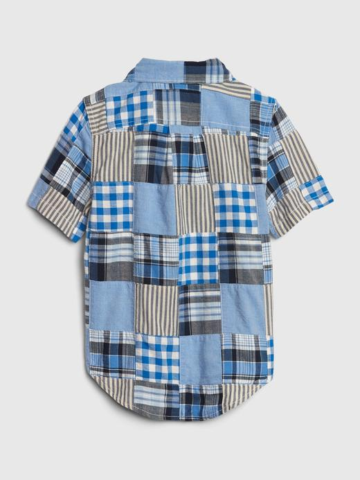 Erkek Bebek Mavi Desenli Kısa Kollu Gömlek