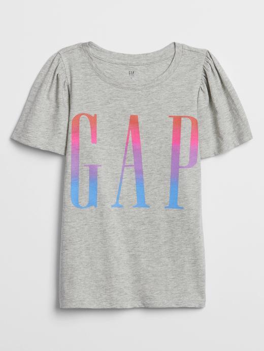 Kız Çocuk Gri Gap Logo Kısa Kollu T-Shirt