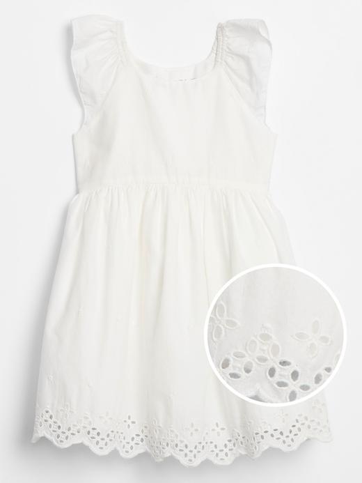Kız Bebek Beyaz Kısa Kollu Elbise